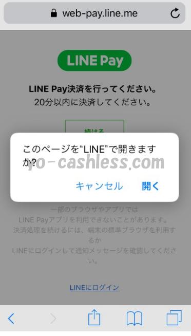 LINE Pay支払い画面