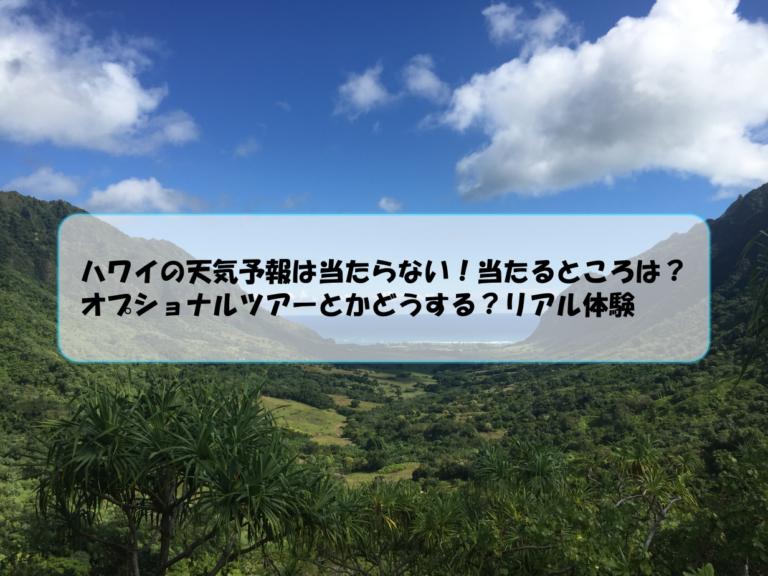 ハワイの天気予報は当たらない!当たるところは?オプショナルツアーとかどうする?リアル体験